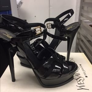 NWTBox YSL tribute sandalsheels black never worn